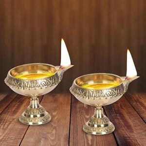 Brass Kuber Deepak On Stand Diya Oil Lamp For Puja Set Of 2 Free Ship Uk Ebay