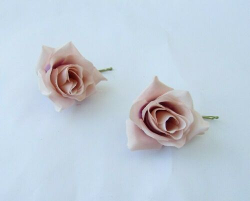 2 x Blush Pink Nude Pink Rose Flower Hair Grips Bobby Pins Clips Slides Vtg 0196