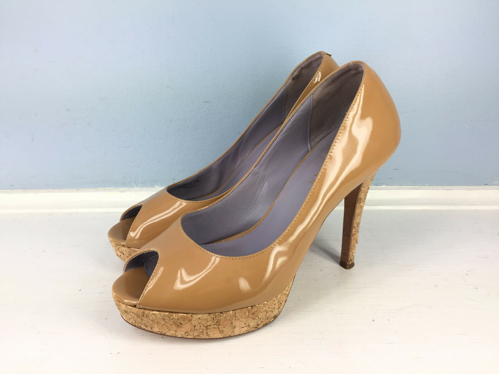 Cole Haan Braun Tan Patent Leder Peep Toe Platform heels 7.5 Career Cocktail