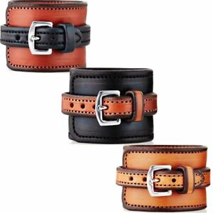 Rebecca Ray Chunky Equestrian Horse Two-Tone Leather Cinch Cuff Bracelet Unisex