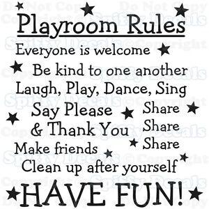 PLAYROOM-RULES-NURSERY-SCHOOL-SHARE-FUN-Quote-Vinyl-Wall-Decal-Decor-Sticker