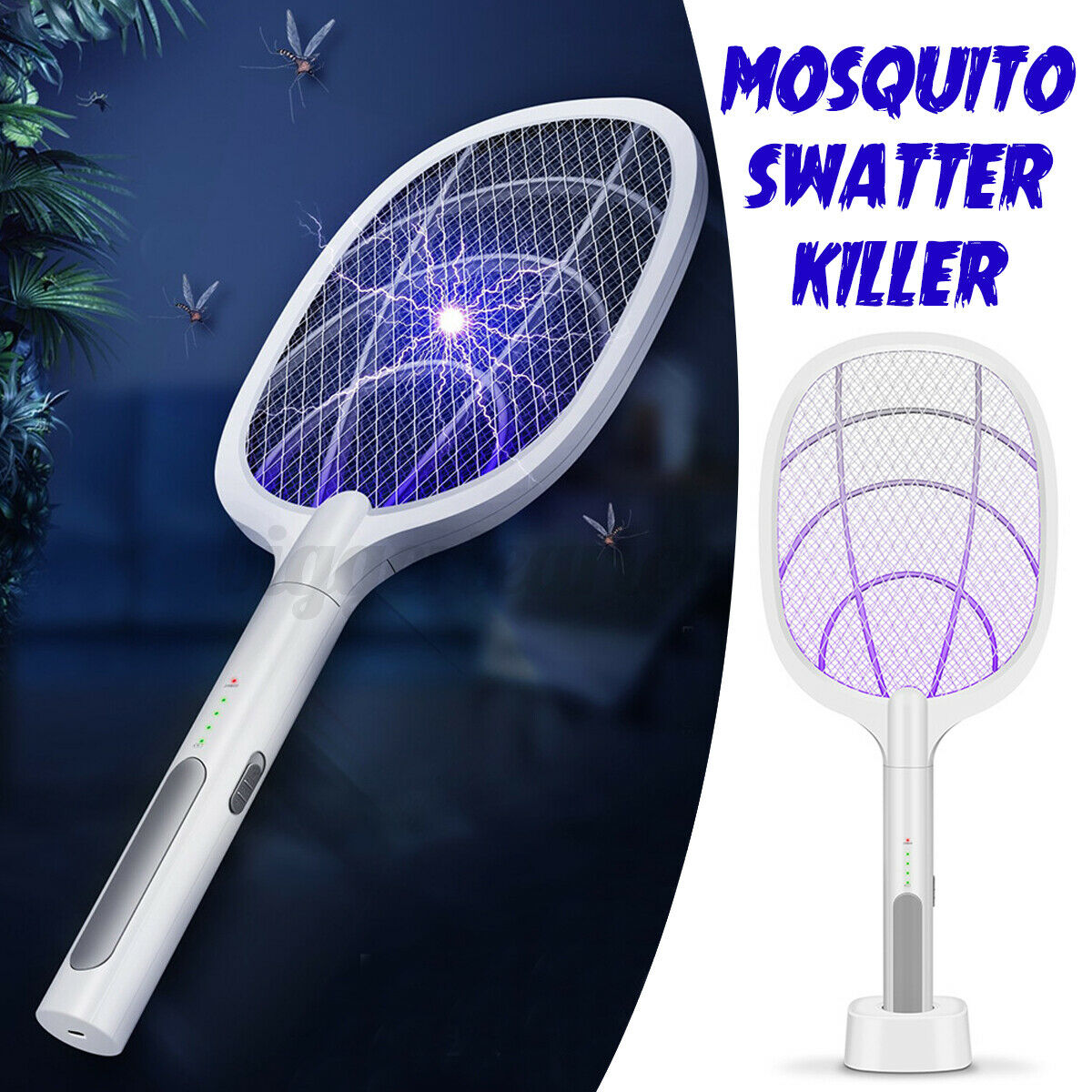 Electric Insect Racket Swatter Zapper USB Rechargeable ...