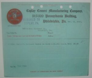 1910-Billhead-Pennsylvania-Philadelphia-Coplay-Cement-Manufacturing-Company