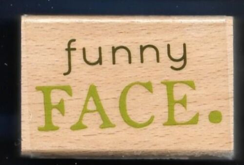 FUNNY FACE Card Words Hampton Art Studio G NEW Wood Mount RUBBER STAMP