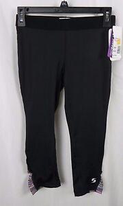 13f953a61097ea NEW Women's Soffe Black Side Ruche Low Rise Capri Leggings Pant Size ...