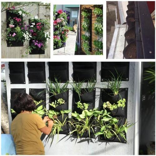 4 Pockets  Indoor Outdoor Home Vertical Pots Garden Wall Planters Hanging Bag S