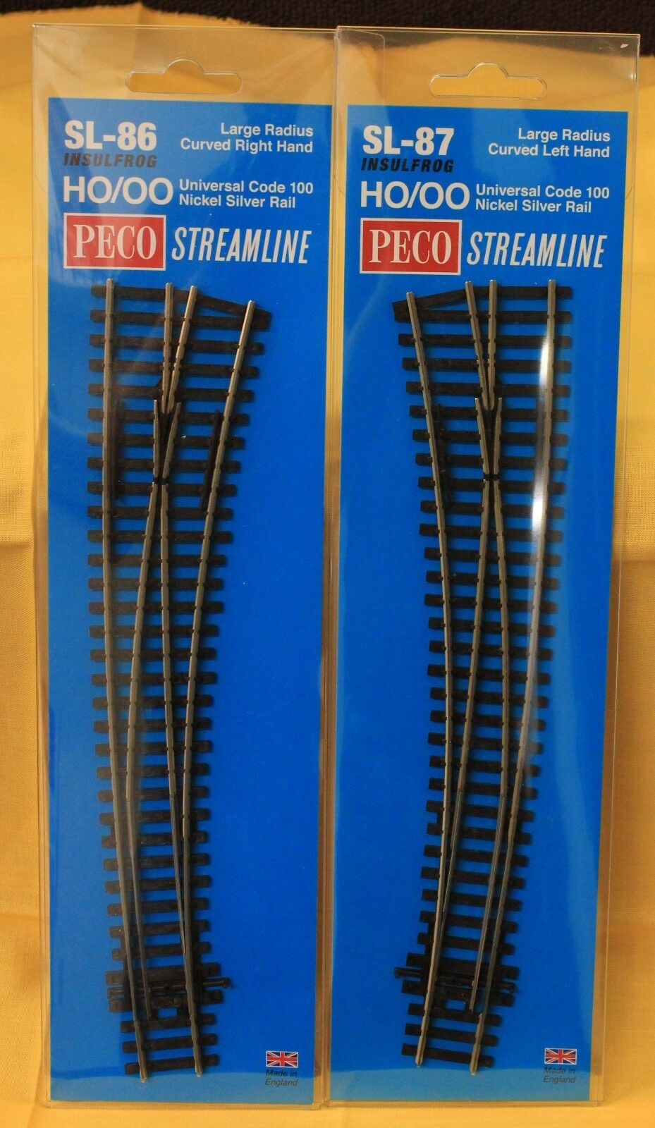 LOT of 2 - HO Scale PECO SL-86 & SL-87 Code 100 Insulfrog Lg Rad Curved Turnouts