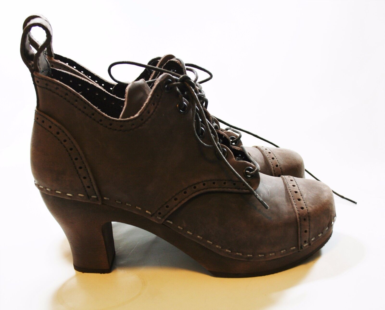 SWEDISH HASBEENS SHOES 1910 LACE LACE LACE UP CLOG BOOTIES BROWN NUBUCK LEATHER 36  389 f73bc8