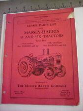 Vintage Oem Massey Harris Model 55 Amp 55k Tractor Repair Parts List1949 99 Pages