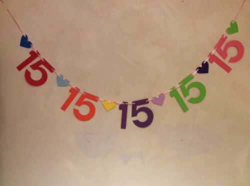 BANNER DECORATION 6 NUMBER SETS GIRLS 15TH BIRTHDAY PARTY BUNTING