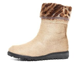 1a6321c6410e Stuart Weitzman Calf Hair Leopard Print Ankle Boots Beige Women Sz ...