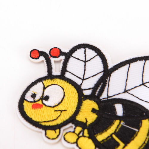 bee embroidered sew iron on patches set badge bag fabric applique craft DIY DSUK