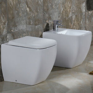 Faleri Ceramica Sanitari Spa.Dettagli Su Sanitari Filo Muro Bagno Design Moderno Wc Sedile Avvolgente E Bidet In Ceramica