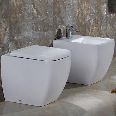 Sanitari filo muro bagno design moderno wc sedile avvolgente e bidet in ceramica