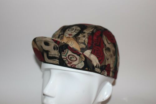 CYCLING CAP THE BLACK WIDOW 100/%COTTON PRINT    HANDMADE ONE SIZE  O ANY SIZE