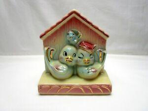 Vintage-USA-Shawnee-Pottery-830-Lovebirds-House-Wall-Pocket-Vase-Blue-Birds