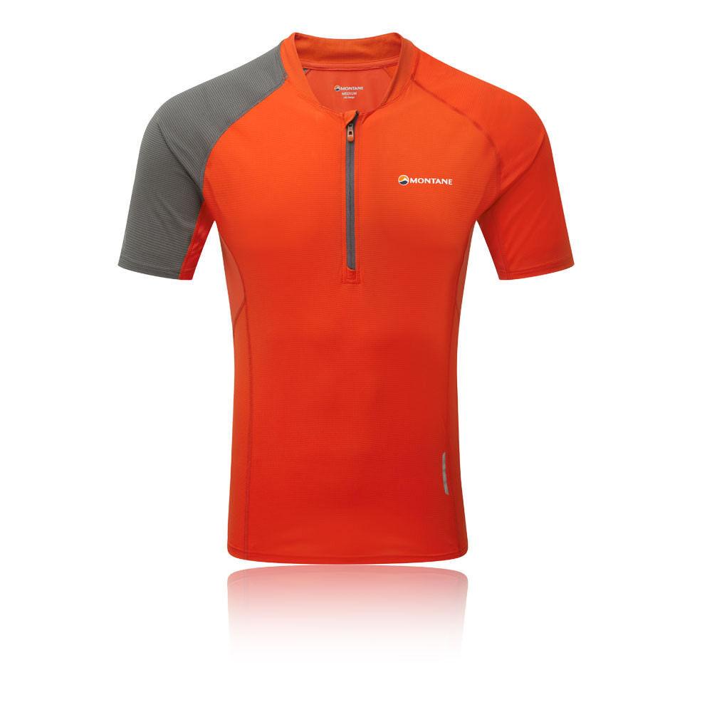 Montane Herren Fang Zip T Shirt Tee Top rot Sport Draußen Breathable Lightweight