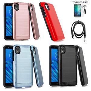 For Motorola Moto E6 Case Verizon Shock Absorbing Dual Layered Cover Ebay
