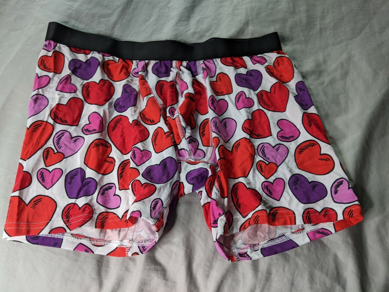 MeUndies Fly Heart Print Red, Purple, and White Boxer Brief