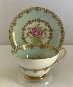 Vintage, Stanley Fine Bone China-England - Gilded Teacup & Saucer w/ A Pink Rose