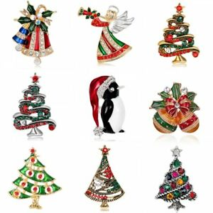 Fashion-Christmas-Bell-Tree-Penguin-Crystal-Brooch-Pin-Women-Costume-Jewelry-New