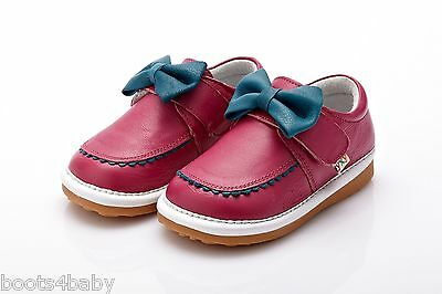 Girl's Infant Toddler Squeaky Hot Pink & Turquoise Real Leather Shoes