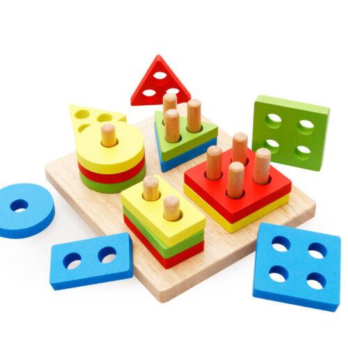 Baby Kids Wooden Geometric Building Blocks Sorting Montessori Puzzle Boys Toys