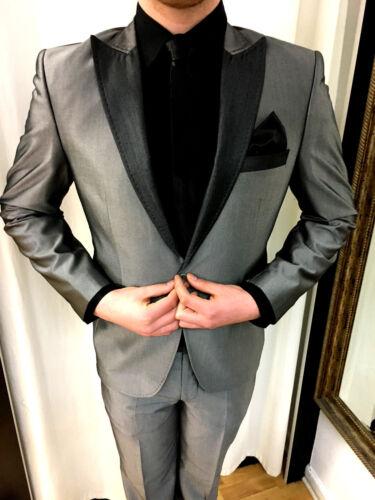 Grau Silber Designer Dunkel Slimfit Krawatte Sakko Tailliert 46 Party Anzug Hemd qx14H