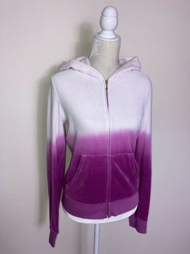Juicy Couture Womens L Velour Purple Pink Ombre Zi