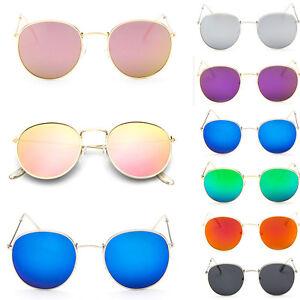 New-Fashion-Men-Women-039-s-Round-Sunglasses-Vintage-Retro-Oversized-Mirror-Glasses