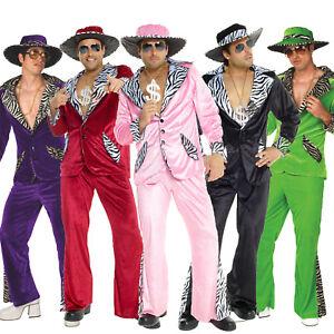 Mens-PIMP-DADDY-Fancy-Dress-Pimp-Costume-L-XL-incl-Hat-1970-s-70s-Velvet-Suit