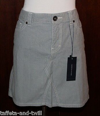 Striped Skirt 10 M New Nautical Tommy Hilfiger Mini Straight Pencil Blue White