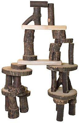 Wooden Tree Blocks Barkless 21 Piece Real Wood Building Blocks in a Bag