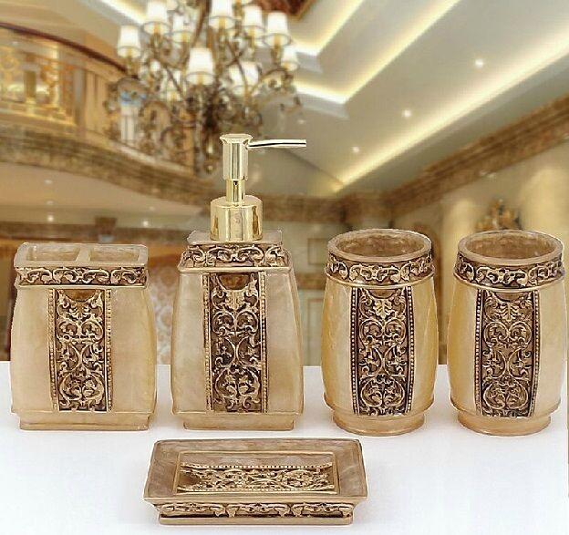 5Pcs Gold Rome Aristocracy Bathroom Accessories Set Bath Resin Toothbrush Holder