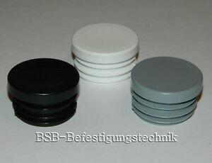 Lamellenstopfen-Rund-farbig-Endkappen-Rohrstopfen-Kappen-Rohrkappen-Stopfen