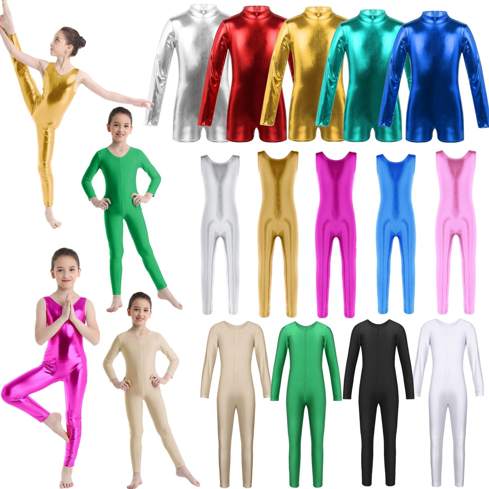 Girls Ladies Long Sleeve Metallic Ballet Dance Gymnastics Skate Leotard Bodysuit