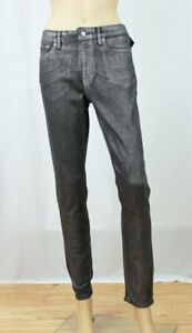 Ralph Lauren Woman's Classic Skinny Jeans~Black With Shiny Sliver Coating~NWT