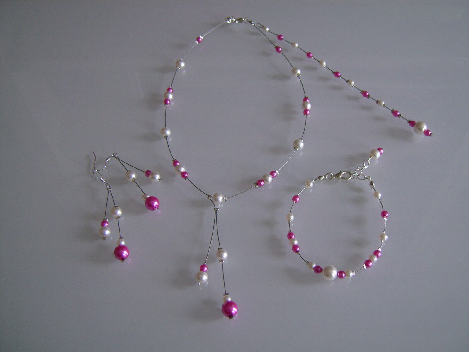 Parure Beige clair pink fuchsia Collier Bracelet Bijou dos Mariage Mariée robe