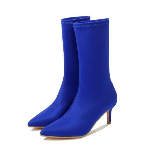 Women Med Kitten Heel Pointed Toe Boots Ladies Solid Mid Calf Socks Bootie Shoes