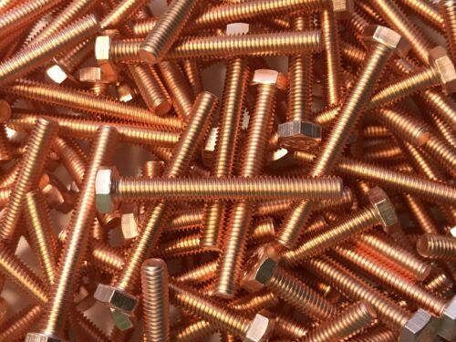 1 Stück Kupferschraube DIN EN ISO 4017  M6x50 10.9 hochfest stark verkupfert