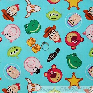 BonEful-Fabric-FQ-Cotton-Quilt-Disney-Toy-Story-Movie-Woody-Buzz-Alien-Star-Pig