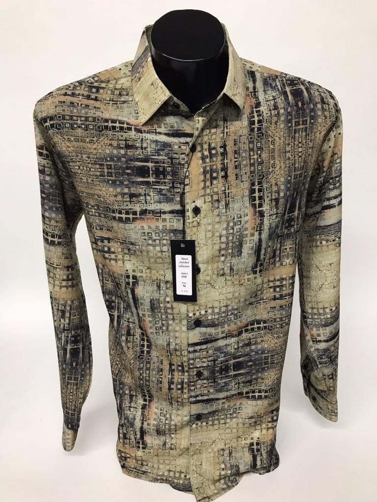 New Bassiri Men's Multi color Olive Long Sleeves Fashion Casual Shirt 6142