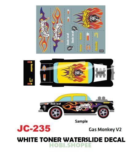 JC-9235 White Toner Waterslide Decals /> For Custom 1:64 Hot Wheels