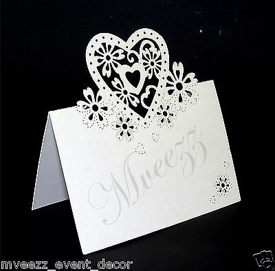 Name Place Cards Shimmer Laser Cut Heart Wedding Table Number Quality Decoration