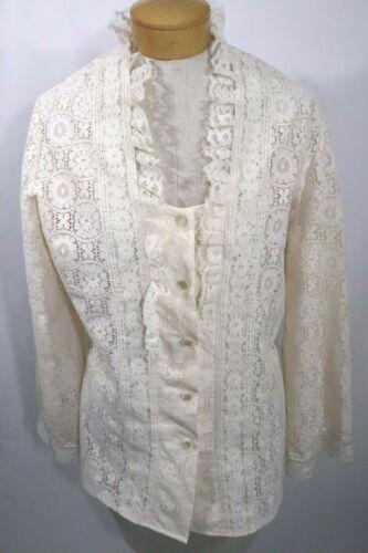 Vtg 70s Tumbleweeds Cream Lace Blouse Womens Size