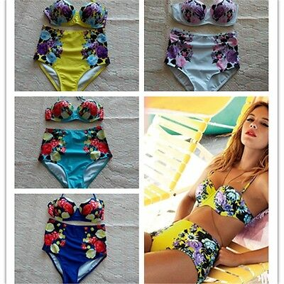 Women Sexy Bandage Bikini Push Up Padded Bra High Waisted Swimsuit Swimwear SML