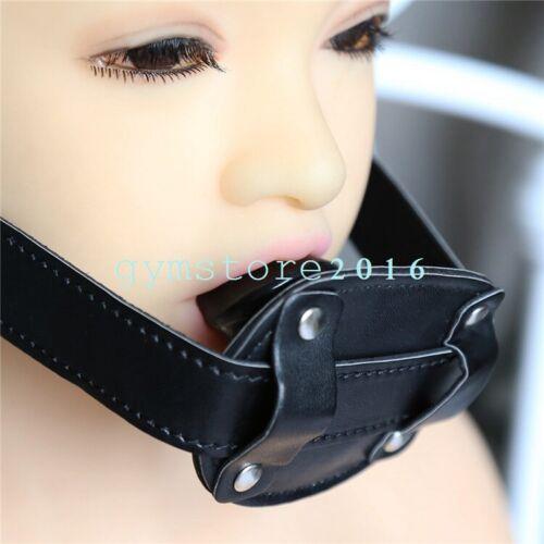 Slave Lockable Soft Plug Silicone Ball Gag Pu Leather Mouth Stuffer Restraint