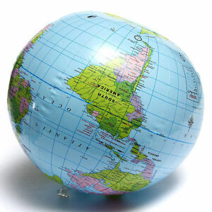 PVC-Inflatable-Blow-Up-World-Globe-40CM-Earth-Atlas-Ball-Map-Geography-Toy-ME
