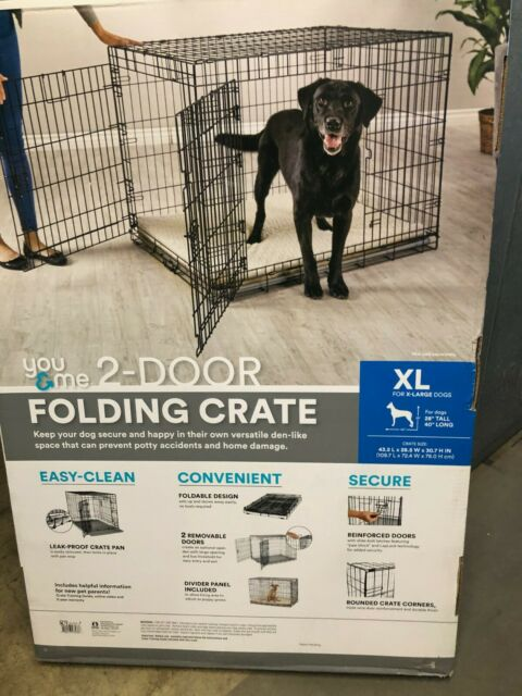 You & Me 42 inch Double Door Folding Dog Crate with Divider & Tray 42 x 28 x 30