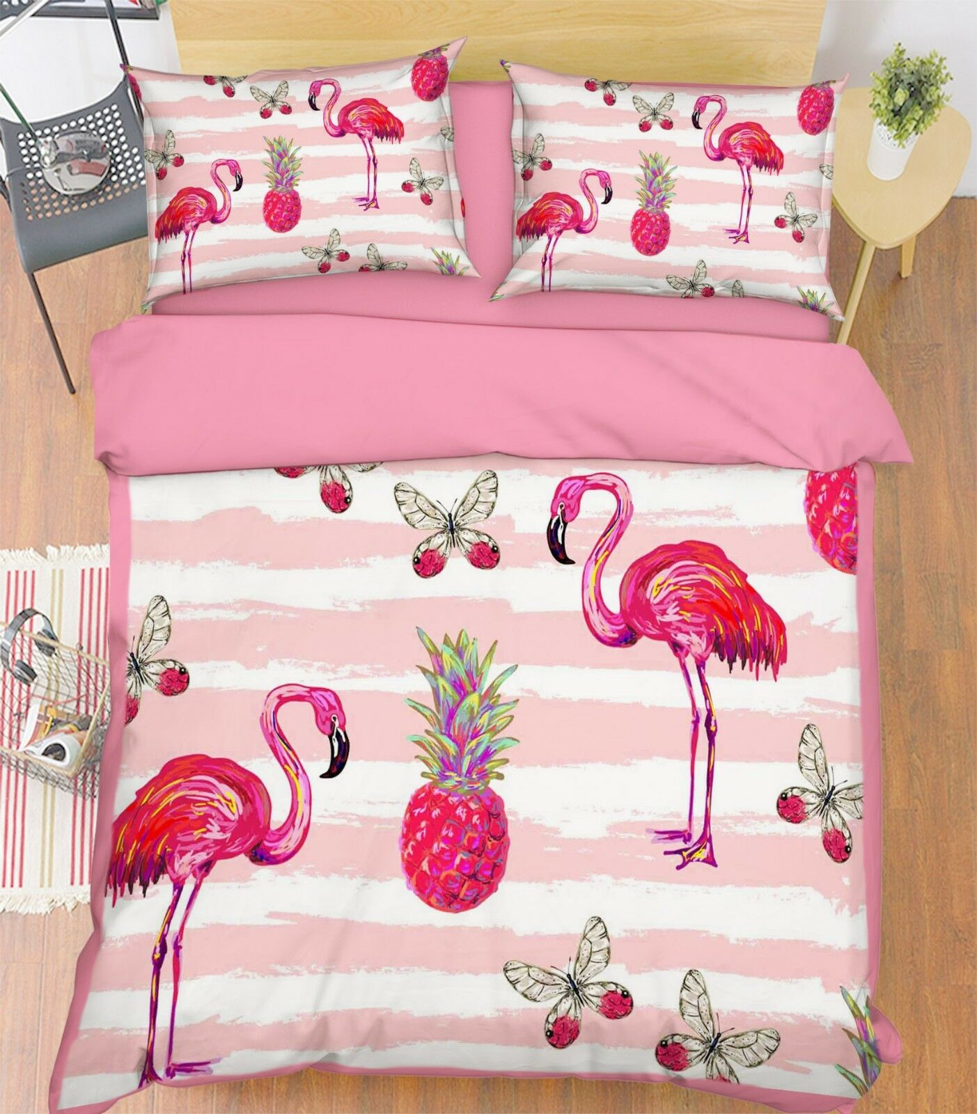 3D Birds Fruits Bed Pillowcases Quilt Duvet Cover Set Single Queen King Größe AU